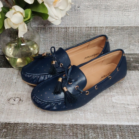 comfortview Shoes - Comfortview navy driving shoes loafers